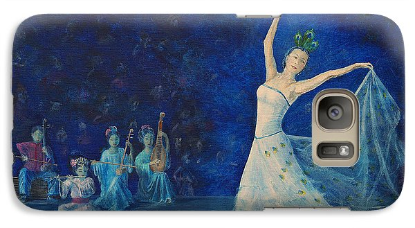 Galaxy Case featuring the painting Chinese Peacock Dance-1 by Anthony Lyon