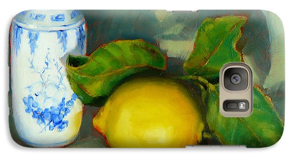 Galaxy Case featuring the painting Chinese Pot And Lemon by Margaret Stockdale