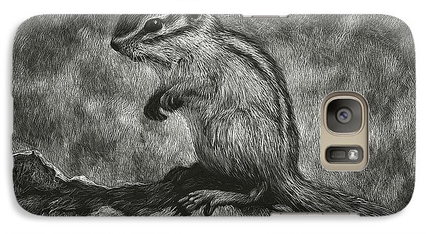 Galaxy Case featuring the drawing Chipmunk On The Rocks by Sandra LaFaut