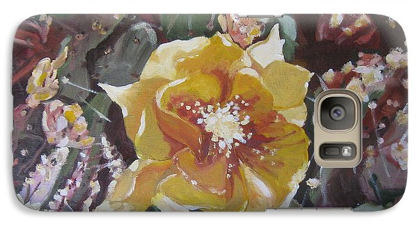 Galaxy Case featuring the painting Cholla Flowers by Julie Todd-Cundiff