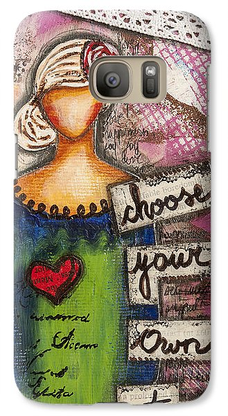 Galaxy Case featuring the mixed media Choose Your Own Story Inspirational Mixed Media Folk Art  by Stanka Vukelic