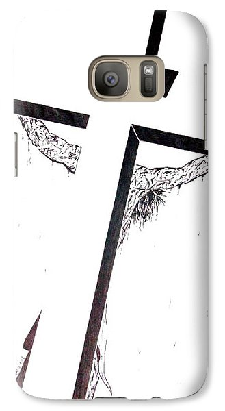 Galaxy Case featuring the drawing Christ On Cross by Justin Moore