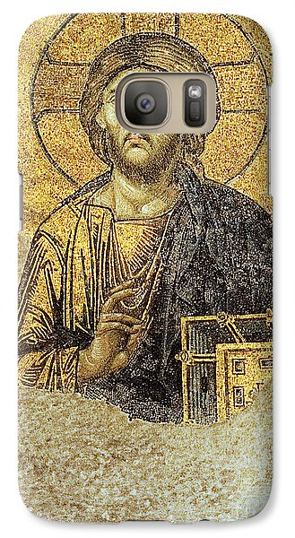 Galaxy Case featuring the photograph Christ Pantocrator-detail Of Deesis Mosaic Hagia Sophia-judgement Day by Urft Valley Art