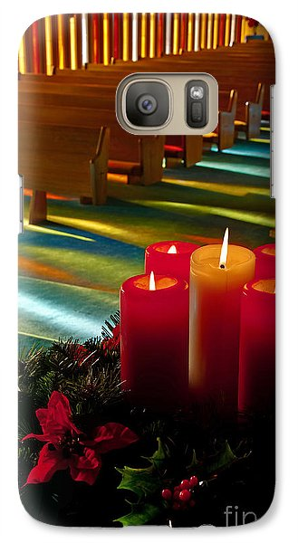 Galaxy Case featuring the photograph Christmas Candles At Church Art Prints by Valerie Garner