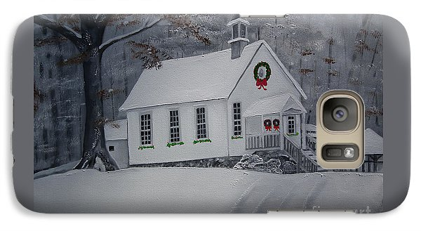 Galaxy Case featuring the painting Christmas Card - Snow - Gates Chapel by Jan Dappen