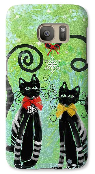 Galaxy Case featuring the digital art Christmas Cats by Arline Wagner
