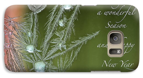 Galaxy Case featuring the mixed media Christmas Greeting Card Ice Flowers by Peter v Quenter