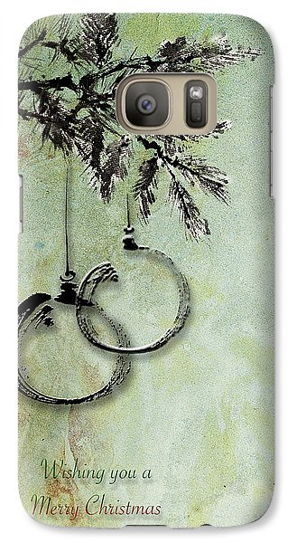 Galaxy Case featuring the painting Christmas Greeting Card With Ink Brush Drawing by Peter v Quenter