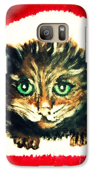 Galaxy Case featuring the painting Christmas Kitten  by Mindy Bench