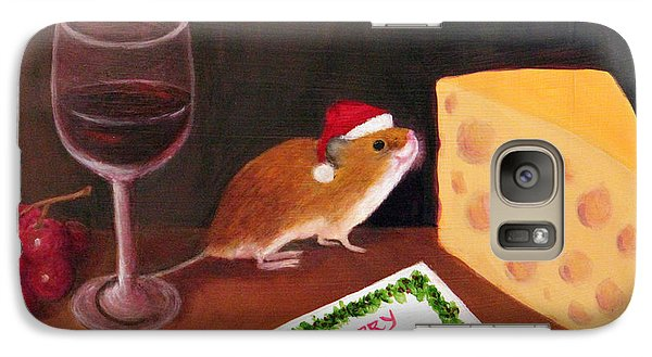 Galaxy Case featuring the painting Christmas Mouse by Janet Greer Sammons