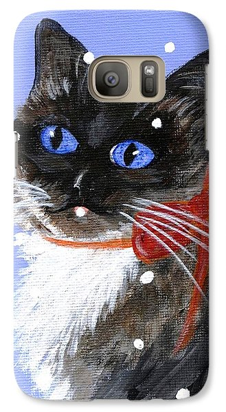 Galaxy Case featuring the painting Christmas Siamese by Jamie Frier