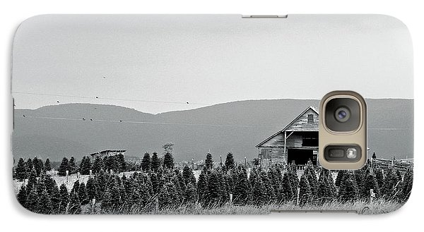 Galaxy Case featuring the photograph Christmas Tree Farm - Bw by Eve Spring