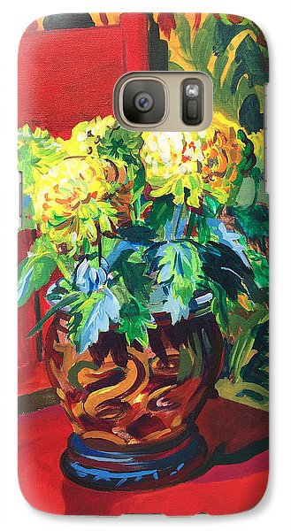Galaxy Case featuring the painting Chrysanthemums On Red Chair by Clyde Semler