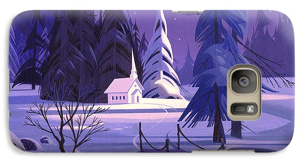 Galaxy Case featuring the painting Church In Snow by Michael Humphries