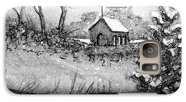 Galaxy Case featuring the painting Church Snow Scene by Gretchen Allen