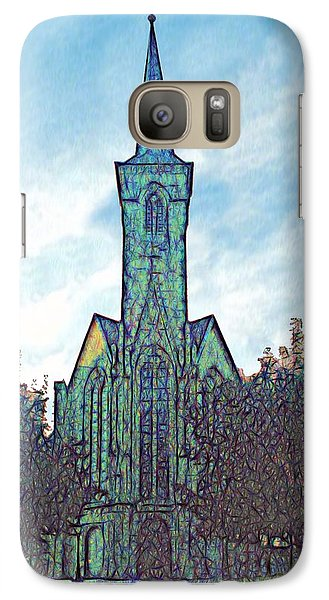 Galaxy Case featuring the digital art Church Steeple At Sunrise by Dennis Lundell