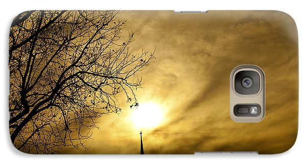 Galaxy Case featuring the photograph Church Steeple Clouds Parting by Jerry Cowart