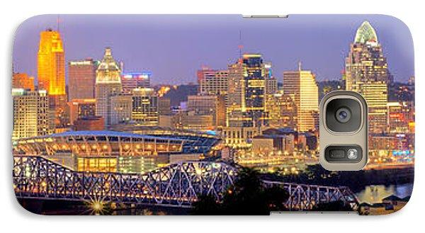 Galaxy Case featuring the photograph Cincinnati Skyline At Dusk Sunset Color Panorama Ohio by Jon Holiday