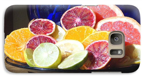 Galaxy Case featuring the photograph Citrus And The Blue Pitcher 1 by Anastasia Savage Ealy