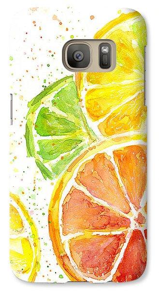 Citrus Fruit Watercolor Galaxy Case by Olga Shvartsur