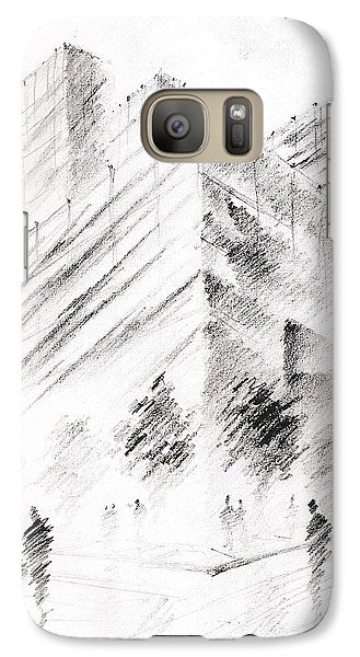 Galaxy Case featuring the drawing City Building by Fanny Diaz