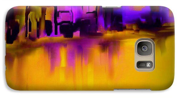 Galaxy Case featuring the painting City In Purple And Gold by Jessica Wright