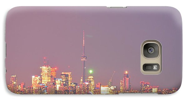 Galaxy Case featuring the photograph City Lights Glimmer Over Open Water  by Puzzles Shum