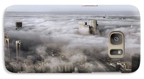 Galaxy Case featuring the photograph City Skyscrapers Above The Clouds by Ron Shoshani