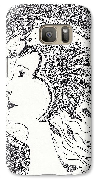 Galaxy Case featuring the drawing Cleopatra  by Tamyra Crossley