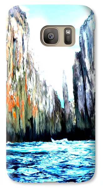 Galaxy Case featuring the painting Cliffs By The Sea by Bruce Nutting