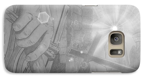 Galaxy Case featuring the drawing Clinging To The Cross Lights by Justin Moore