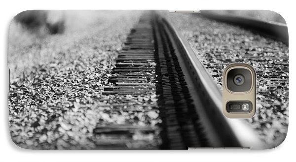 Galaxy Case featuring the photograph Close Up Of Rail Road Tracks by Karen Kersey