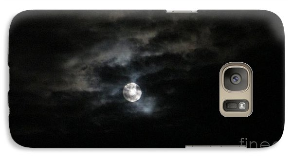 Galaxy Case featuring the photograph Night Time Cloudy Dark Moon by Barbara Yearty