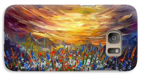 Galaxy Case featuring the painting Cloudy Sunset In Valley by Lilia D