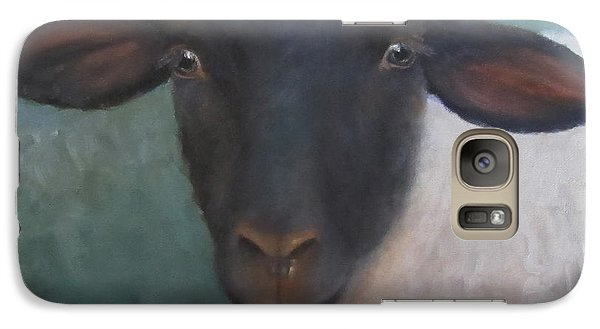 Galaxy Case featuring the painting Clyde - A Suffolk Lamb Painting by Cheri Wollenberg