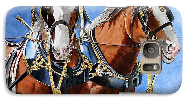 Galaxy Case featuring the painting Clydesdale Duo by Debbie Hart