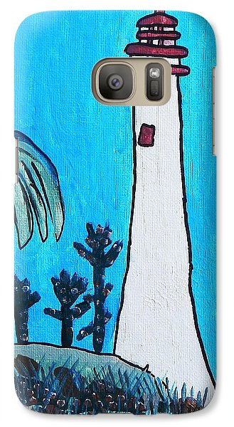 Galaxy Case featuring the painting Coastal Lighthouse by Artists With Autism Inc