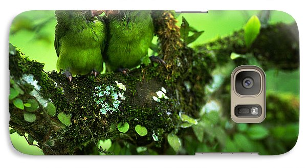 Cobalt-winged Parakeets Galaxy Case by Art Wolfe