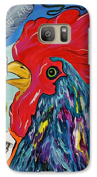 Galaxy Case featuring the mixed media Cock-a-doodle-do by Janice Rae Pariza