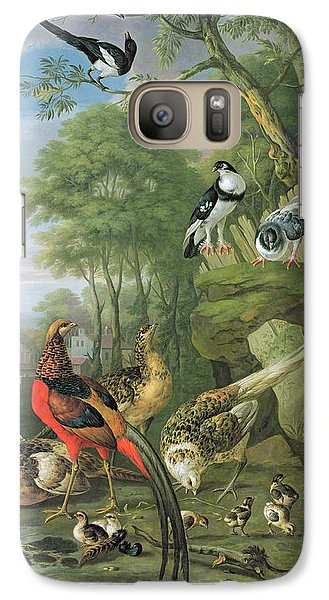 Magpies Galaxy S7 Case - Cock Pheasant Hen Pheasant And Chicks And Other Birds In A Classical Landscape by Pieter Casteels