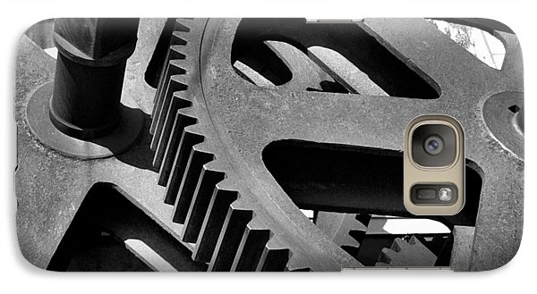 Galaxy Case featuring the photograph Cogwheels In Black And White by Nadalyn Larsen