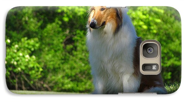 Galaxy Case featuring the photograph Collie Overlook by Deborah Johnson