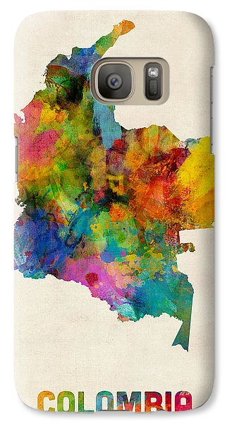 Colombia Watercolor Map Galaxy Case by Michael Tompsett