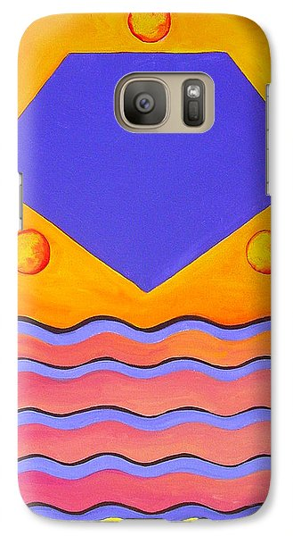 Galaxy Case featuring the painting Color Geometry - Pentagon by Carolyn Goodridge