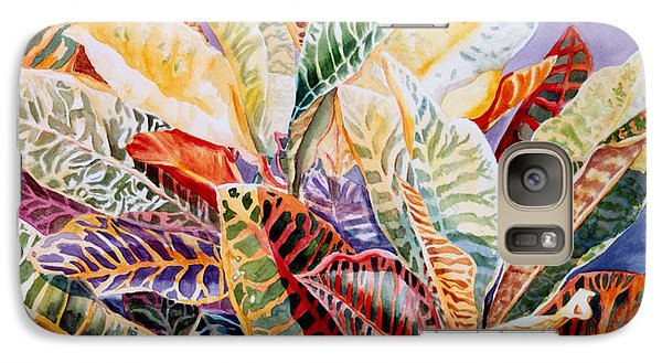 Galaxy Case featuring the painting Color Patterns - Crotons by Roxanne Tobaison