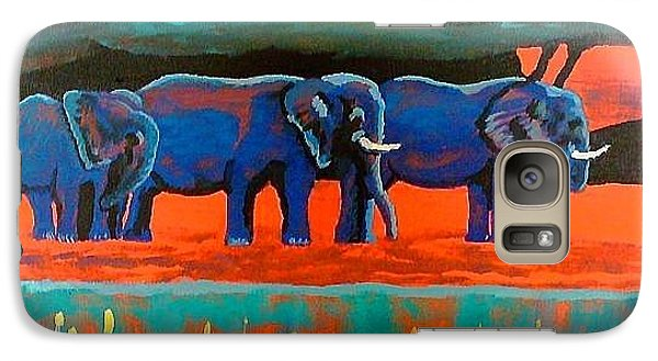 Galaxy Case featuring the painting Color Study Elephants by Brenda Pressnall