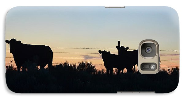 Galaxy Case featuring the photograph Colorado Cattle Silhouettes by Clarice  Lakota