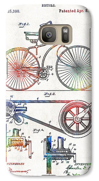 Colorful Bike Art - Vintage Patent - By Sharon Cummings Galaxy S7 Case by Sharon Cummings