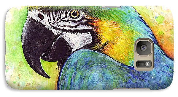 Macaw Watercolor Galaxy S7 Case by Olga Shvartsur