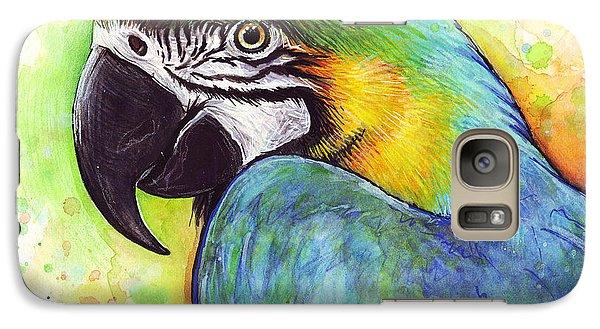 Macaw Watercolor Galaxy Case by Olga Shvartsur